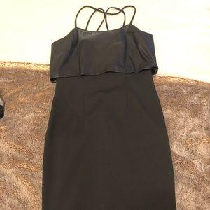 BCBGMaxazria Womens black and faux leather dress
